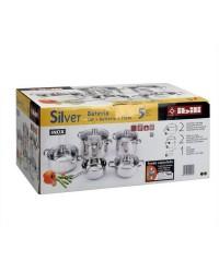 Bateria Acero Inoxidable 5 Piezas Silver Line, Cacerola 16,20 / Olla 16,20 Y Cazo 16, Apto Para Todas Las Cocinas Ibili 000948