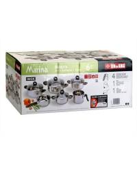 Bateria Acero Inoxidable 6 Piezas Marina, Cacerola 16,18,20,22 / Cazo 16 / Pote 14, Apto Para Todas Las Cocinas Ibili 000949