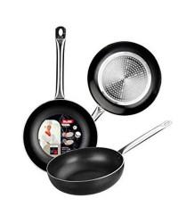Caja de 6 uds de Sarten Honda Aluminio I-Chef 28 Cm, Valida Para Todas Las Cocinas Ibili 403128