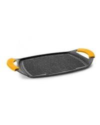 Caja de 6 uds de Grill Plancha Ondulado Aluminio Fundido Basic Stone 36X23 Cm, Valida Para Todas Las Cocinas, Asas De Silicona E