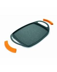 Grill Plancha Aluminio Fundido Basic Stone 36X23 Cm,Antiadherente Piedra,  Valida Para Todas Las Cocinas, Asas De Silicona Extra
