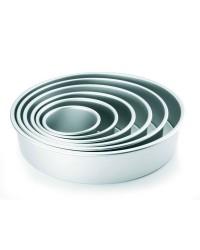 Caja de 6 uds de Molde Redondo Recto Alto Aluminio Anodizado 30X7,60 Cm Ibili 815030