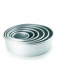 Caja de 6 uds de Molde Redondo Recto Extra Alto Aluminio Anodizado 20X10 Cm Ibili 815120