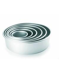 Caja de 6 uds de Molde Redondo Recto Extra Alto Aluminio Anodizado 25X10 Cm Ibili 815125