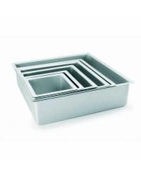 Caja de 6 uds de Molde Cuadrado Recto Extra Alto Aluminio Anodizado 12,50X10 Ibili 815212