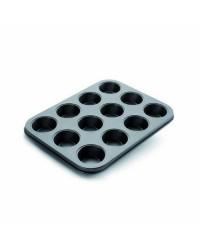 Caja de 6 uds de Molde Mini Muffin Chapa De Acero Con Antiadherente 12 Cm Ibili 826900