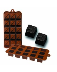 Caja de 6 uds de Molde Bombon Silicona Chocolate Geo, 11X21X2,5 Cm Ibili 860306