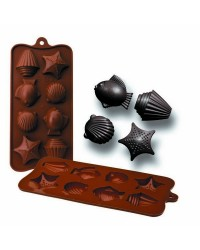 Caja de 6 uds de Molde Bombon Silicona Chocolate Mar,  11X21X2,5 Cm Ibili 860307