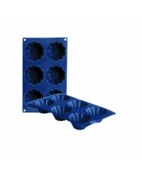 Caja de 6 uds de Molde Flanero Rizado 6 Cavidades Silicona, 8X4 Cm Ibili 870013