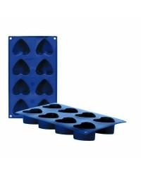 Caja de 6 uds de Molde 8 Cavidades Corazones Silicona, 6X3,5 Cm Ibili 870038