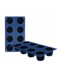 Caja de 6 uds de Molde 8 Cavidades Bordelaise Silicona, 5X5 Cm Ibili 870044