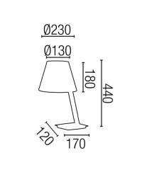 Lampada abat jour da tavolo E27 in metallo e tela color bianco - MOMA
