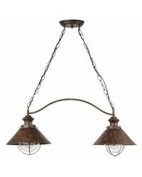 Lampada E27 2 luci a sospensione da giardino esterno in metallo color ruggine - NAUTICA