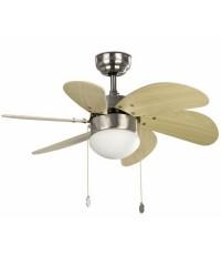 Ventilatore da soffitto nichel opaco con luce - Faro disegno PALAO