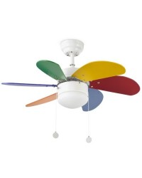 Ventilatore da soffitto multicolore con luce - Faro disegno PALAO MULTICOLOR
