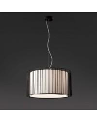 Lampada a sospensione E27 in acciaio e tessile color nero - LINDA