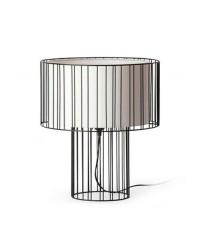 Lampada da tavolo E27 in acciaio e tessile color nero - LINDA