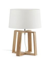 Lampada da tavolo E27 in legno, tela e metallo color marrone-bianco - BLISS