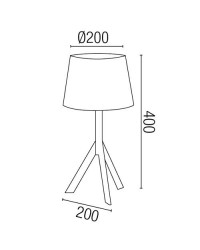 Lampada E14 da tavolo in legno e tela color bianco e marrone - HAT