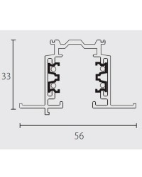 Binario trifasico a incasso 1000mm, bianco