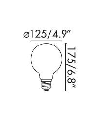 Lampadina LED E27 Globo 4W 400lm 2200K Ambra Ø125mm Dimmerabile