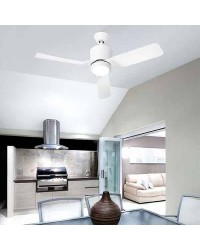 Ventilatore da soffitto bianco con luce LED Leds-C4 VERA