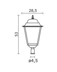 Boccia per Lampioni 1L. ELITE 4 IP43 E27 Trasparente Nero