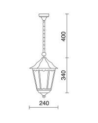 Lampada a sospensione da esterno PIN IP43 70W E27 Nero Vetro Opaco
