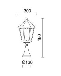 Lampioncini da giardino PIN IP43 70W E27 Nero Vetro Opaco