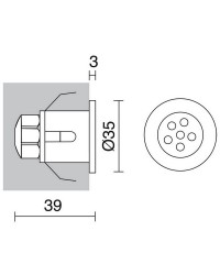 Lampade a incasso da esterno ROMA IP67 led 6x0,1W Inox