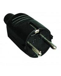 Spina bipolare sucko di gomma nera con messa a terra laterale e ingresso cavo dritto Ø4,8 mm