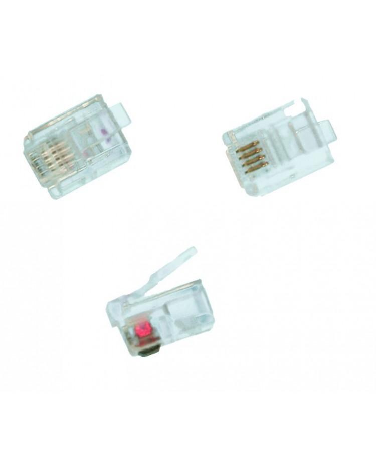 Connettore telefonico modulare 6P / 4C, per cavo piatto