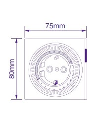 Timer temporizzatore meccanico giornaliero 24h per spina 2P + T schuko