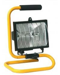Faro alogeno mobile con supporto metallico e cavo elettrico H05W-F per presa 2P + TT laterale. 500W IP44 (uso esterno)