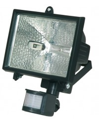 Faro alogeno orientabile con sensor di movimento. 500W 230V-IP44, color nero