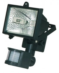 Faro alogeno orientabile con sensor di movimento. 150W 230V-IP44, color nero