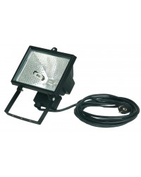 Faro alogeno orientabile con cavo da 3 x 1,0mm. 500W 230V-IP44, color nero