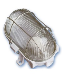 Lampada applique ovale da parete esteriore in plastica e diffusore in vetro, IP44 E27 color bianco
