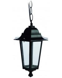 Lampada colgante con catena E27 IP44 da giardino esteriore con 6 lati in alluminio color nero