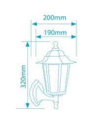 Lanterna da parete per giardino esteriore 6 lati in alluminio E27 60W 230V IP44 color nero