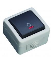 Commutatore con LED luminoso, impermeabile da uso esterno. IP44, 10A, 250V-50Hz.