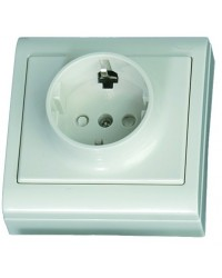 Presa elettrica 2P + Schuko da superficie bianco, 16A, 250V