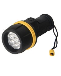 Torcia in gomma, resiste all'acqua 3 LED, nero - Blister.