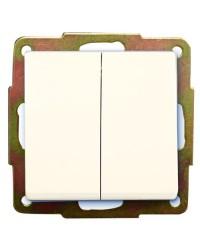 Commutatore doppio a incasso bianco 56 x 56mm 10A, 250V