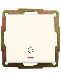 Interruttore pulsante con LED e simbolo campanello a incasso, 56 x 56mm 10A 250V, bianco