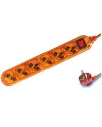 Presa multiple trasparente arancione 6U con cavo e interruttore 1,5 mt  max. 3500W