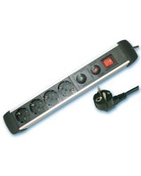 Presa multiple in alluminio 4U con cavo e interruttore 2p + schuko 1.5mt max. 3500W