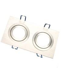 Doppio anello da incasso rettangolare liscio in alluminio, 90x174mm.