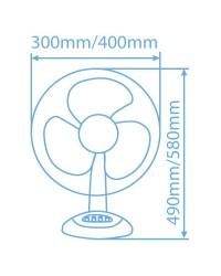 Ventilatore girevole da tavolo con griglia di protezione 45W 30cm 3 velocità