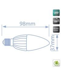 Lampadine LED candela in ceramica 4W E14 320lm 3000K Luce calda